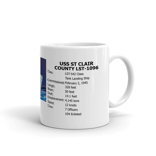 USS St Clair County LST-1096 Coffee Cup Mug Right Handle