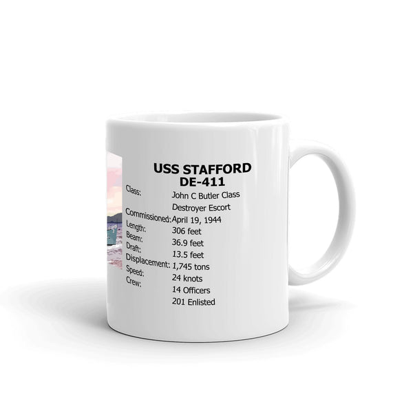 USS Stafford DE-411 Coffee Cup Mug Right Handle