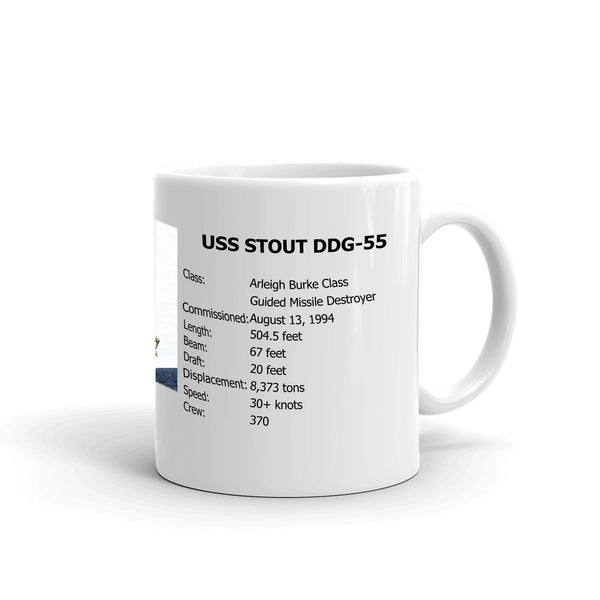 USS Stout DDG-55 Coffee Cup Mug Right Handle
