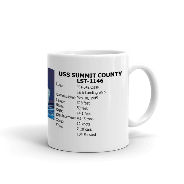 USS Summit County LST-1146 Coffee Cup Mug Right Handle