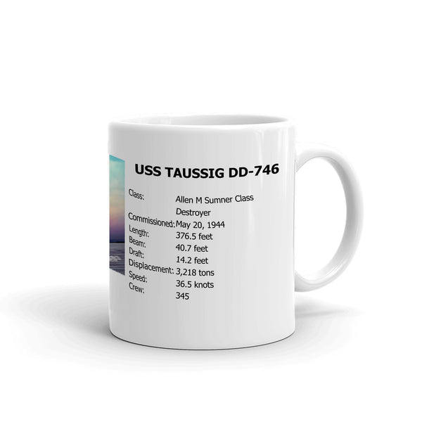 USS Taussig DD-746 Coffee Cup Mug Right Handle
