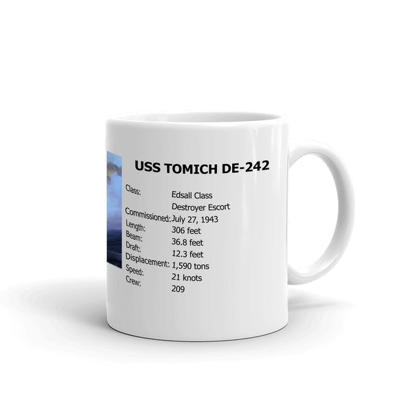 USS Tomich DE-242 Coffee Cup Mug Right Handle