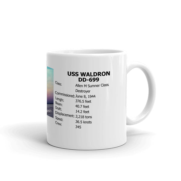 USS Waldron DD-699 Coffee Cup Mug Right Handle