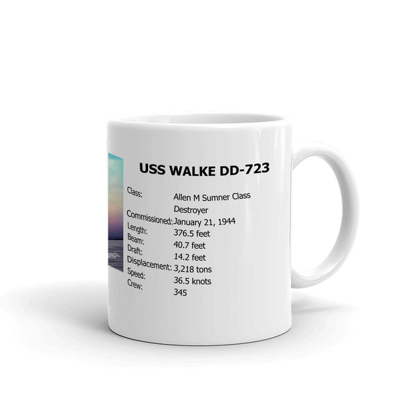 USS Walke DD-723 Coffee Cup Mug Right Handle