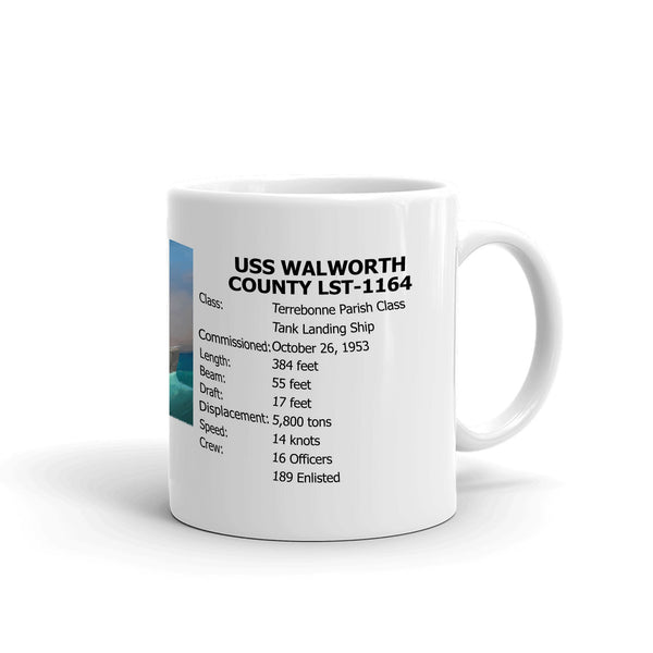 USS Walworth County LST-1164 Coffee Cup Mug Right Handle