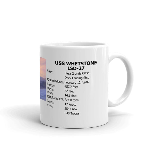 USS Whetstone LSD-27 Coffee Cup Mug Right Handle