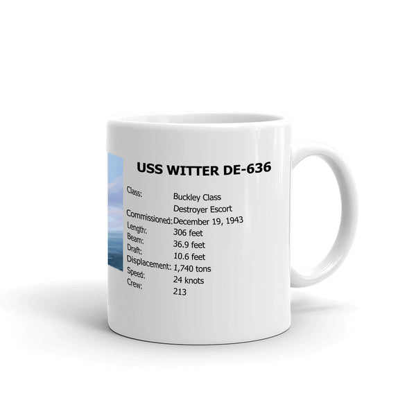 USS Witter DE-636 Coffee Cup Mug Right Handle