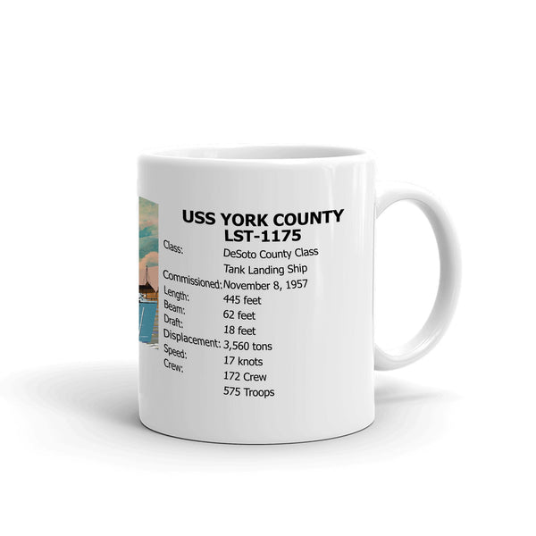 USS York County LST-1175 Coffee Cup Mug Right Handle