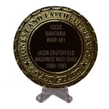 USCGC Barataria WAVP-381 Coast Guard Plaque