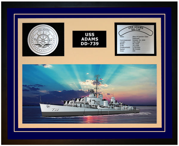 USS ADAMS DD-739 Framed Navy Ship Display Blue