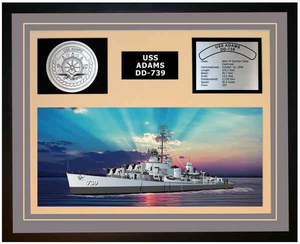 USS ADAMS DD-739 Framed Navy Ship Display Grey