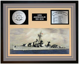 USS AGERHOLM DD-826 Framed Navy Ship Display Grey