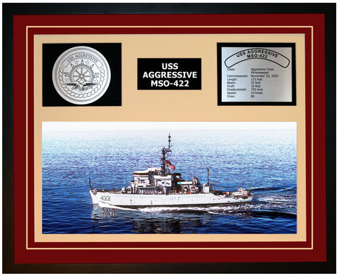 USS AGGRESSIVE MSO-422 Framed Navy Ship Display Burgundy
