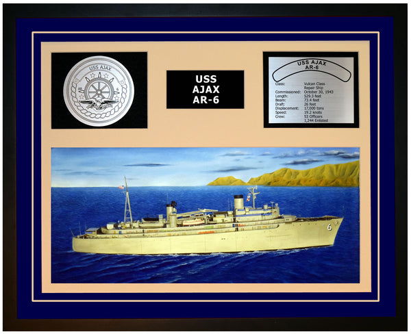 USS AJAX AR-6 Framed Navy Ship Display Blue