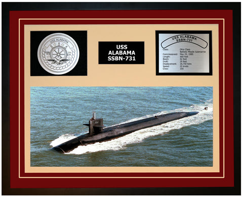USS ALABAMA SSBN-731 Framed Navy Ship Display Burgundy