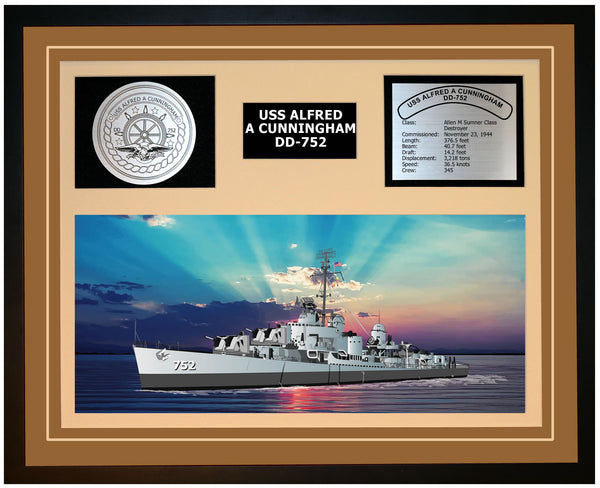 USS ALFRED A CUNNINGHAM DD-752 Framed Navy Ship Display Brown