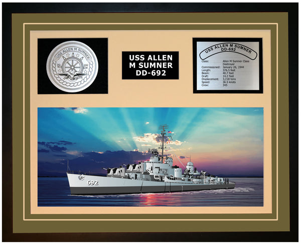 USS ALLEN M SUMNER DD-692 Framed Navy Ship Display Green