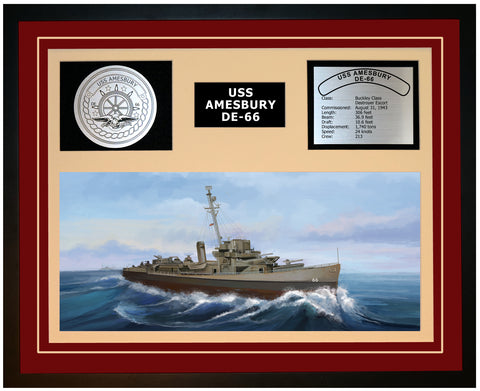 USS AMESBURY DE-66 Framed Navy Ship Display Burgundy