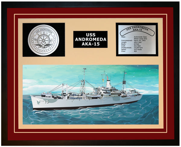USS ANDROMEDA AKA-15 Framed Navy Ship Display Burgundy