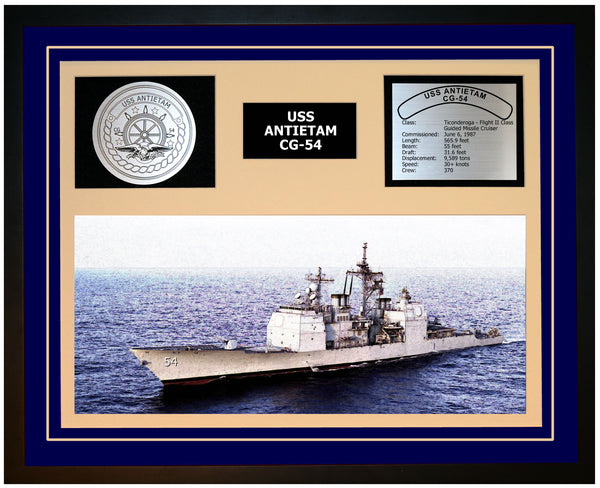 USS ANTIETAM CG-54 Framed Navy Ship Display Blue