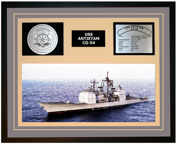 USS ANTIETAM CG-54 Framed Navy Ship Display Grey