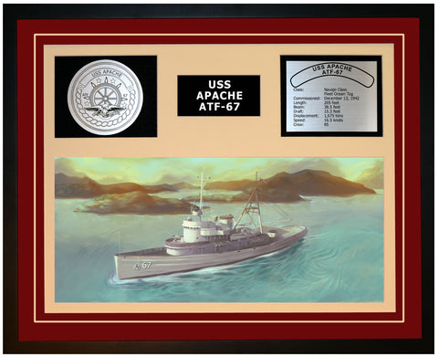 USS APACHE ATF-67 Framed Navy Ship Display Burgundy