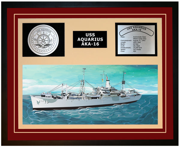 USS AQUARIUS AKA-16 Framed Navy Ship Display Burgundy