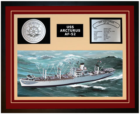 USS ARCTURUS AF-52 Framed Navy Ship Display Burgundy