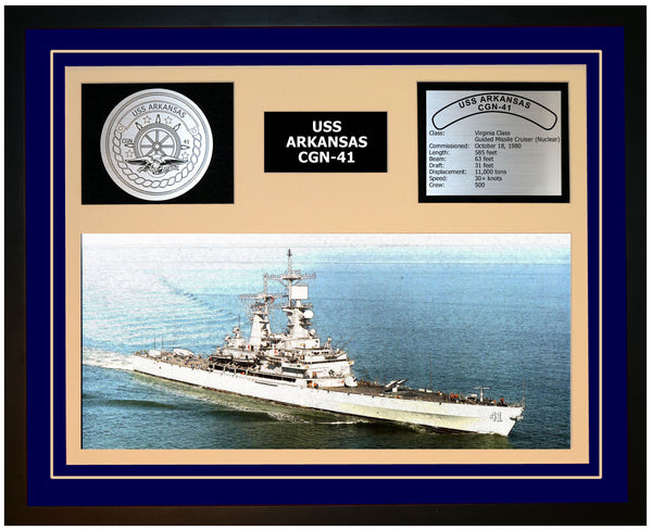 USS ARKANSAS CGN-41 Framed Navy Ship Display Blue