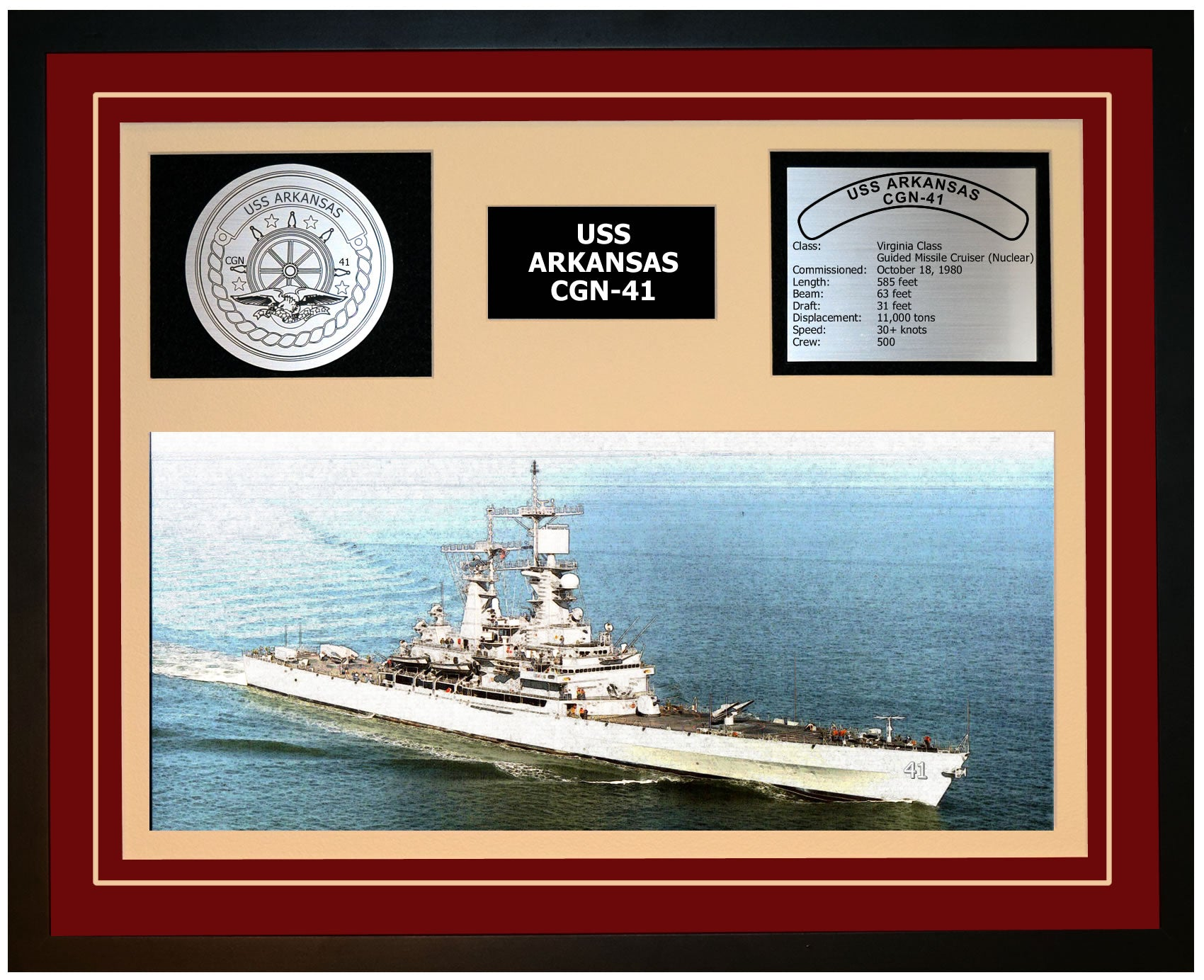 USS ARKANSAS CGN-41 Framed Navy Ship Display Burgundy
