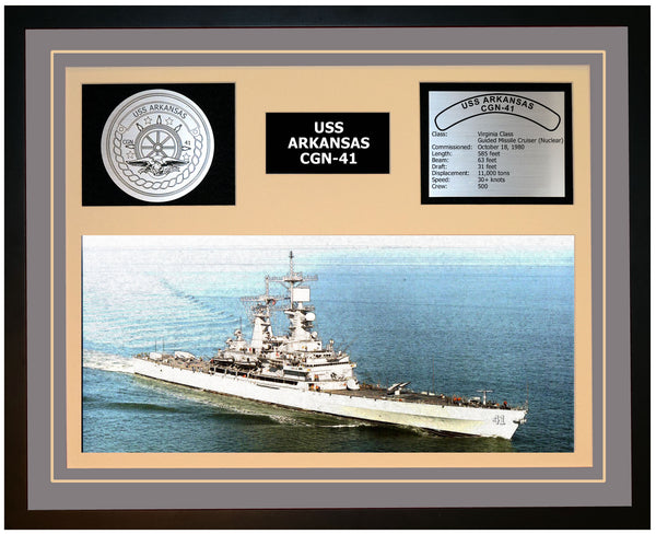 USS ARKANSAS CGN-41 Framed Navy Ship Display Grey