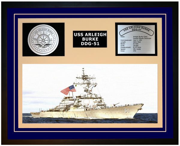 USS ARLEIGH BURKE DDG-51 Framed Navy Ship Display Blue