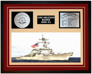 USS ARLEIGH BURKE DDG-51 Framed Navy Ship Display Burgundy