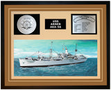 USS ARNEB AKA-56 Framed Navy Ship Display Brown