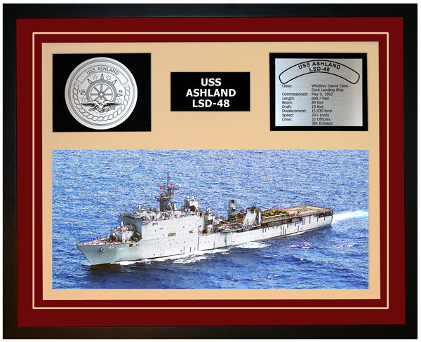 USS ASHLAND LSD-48 Framed Navy Ship Display Burgundy