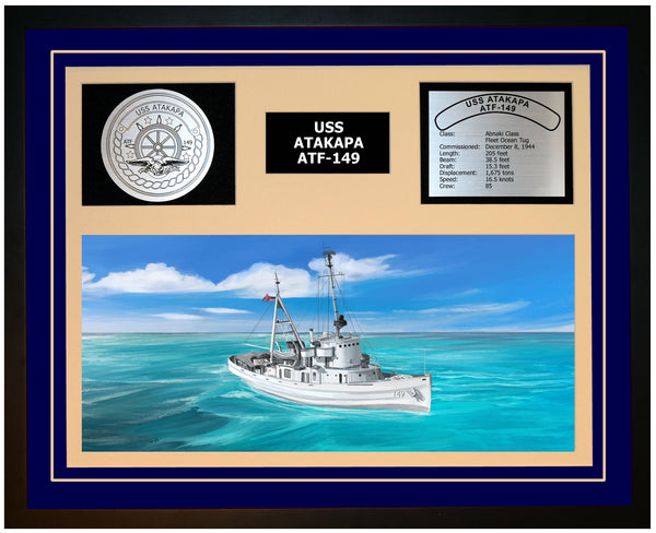 USS ATAKAPA ATF-149 Framed Navy Ship Display Blue