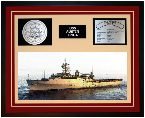 USS AUSTIN LPD-4 Framed Navy Ship Display Burgundy