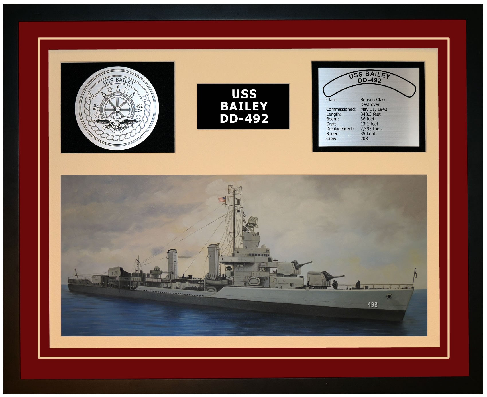 USS BAILEY DD-492 Framed Navy Ship Display Burgundy