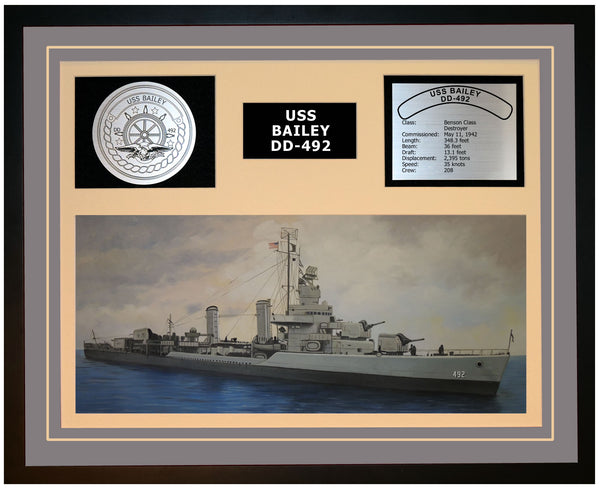 USS BAILEY DD-492 Framed Navy Ship Display Grey