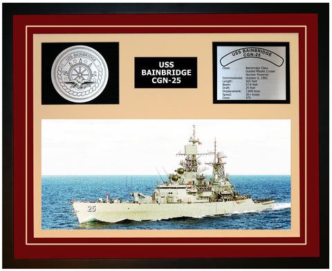USS BAINBRIDGE CGN-25 Framed Navy Ship Display Burgundy