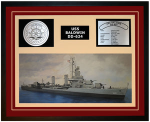 USS BALDWIN DD-624 Framed Navy Ship Display Burgundy