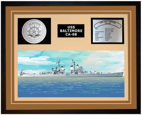 USS BALTIMORE CA-68 Framed Navy Ship Display Brown