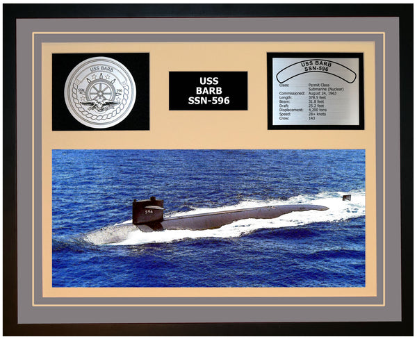USS BARB SSN-596 Framed Navy Ship Display Grey
