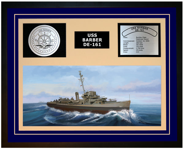 USS BARBER DE-161 Framed Navy Ship Display Blue