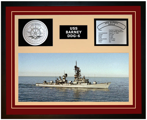 USS BARNEY DDG-6 Framed Navy Ship Display Burgundy