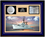 USS BARRY DD-933 Framed Navy Ship Display Blue