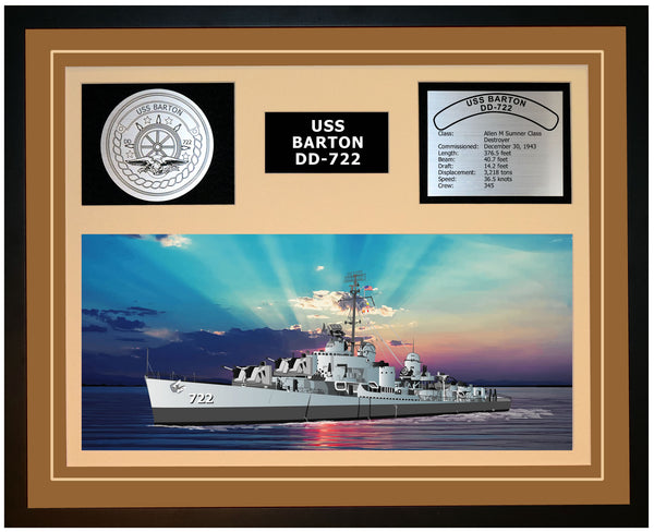 USS BARTON DD-722 Framed Navy Ship Display Brown