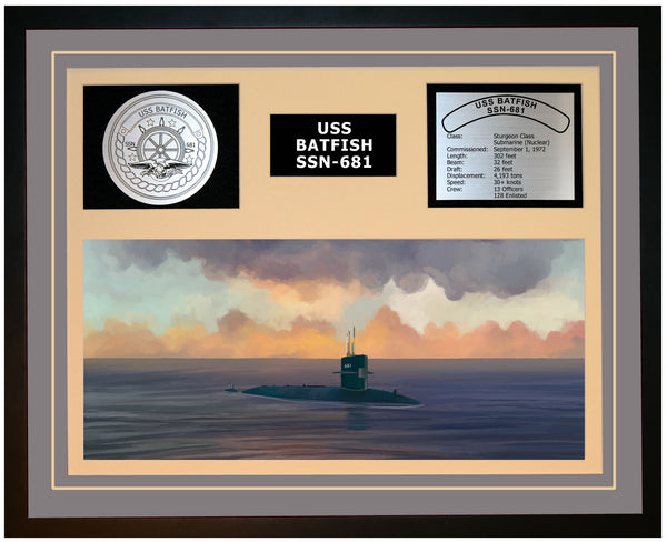 USS BATFISH SSN-681 Framed Navy Ship Display Grey