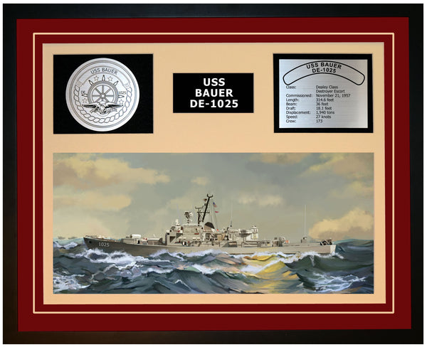 USS BAUER DE-1025 Framed Navy Ship Display Burgundy