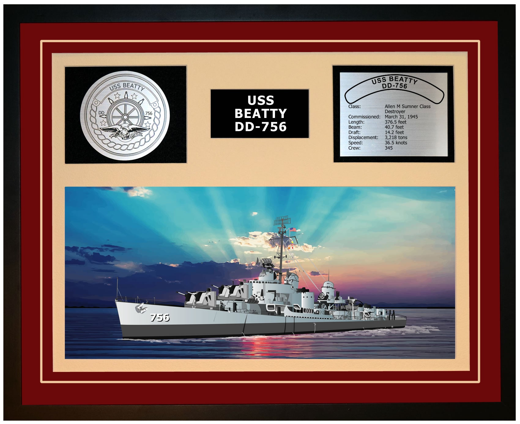 USS BEATTY DD-756 Framed Navy Ship Display Burgundy